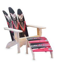 ADIRONDACK WATERSKI CHAIR AND OTTOMAN | Recycled Water Ski Chair | UncommonGoods