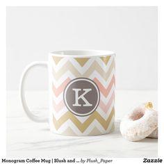 Monogram Coffee Mug   Blush and Gold Chevron