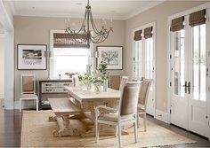 """Benjamin Moore color """"CC-458 Mocha Creme""""…more of a cooler gray and looks elegant with white trim."""