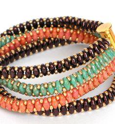 Green peach and eggplant bangle Bracelet , Beadwork Charm Bracelet, cord bracelet, Beadweaving Jewelry, birthday gift handmade bracelets