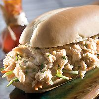 Sandwiches are stars at fast-casual concepts and Asian sandwiches are an up and coming sub-category. This Asian-American hybrid layers Asian Salmon, Lime Dressing, Asian American, Potato Salad, Chile, Seafood, Sandwiches, Shells, Menu