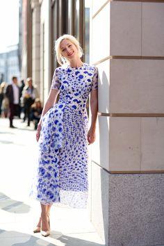 The Most Inspiring Street Style Snaps From London Fashion Week #refinery29  http://www.refinery29.com/london-fashion-week-2014-street-style-photos#slide3  Portia Freeman found the prettiest tea dress of all (psst, it's Roksanda).