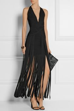 Inspired by Baker's performance outfits, this Herve Leger 'Rebekah' Fringed Bandage Gown, is made for dancing!