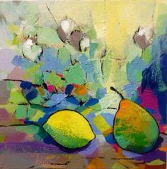 """Ron Coleman - Acrylic on Canvas - 'Pear & Lemon' - 'The Choice' at Centre now. Crane, Pear, Abstract Art, Lemon, Auction, Canvas, Centre, Archive, Painting"