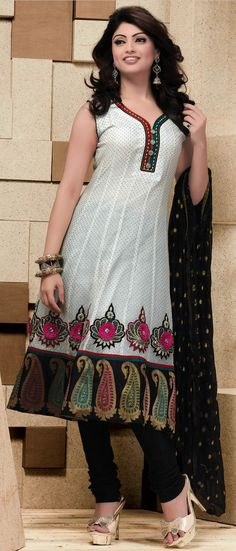 #White Readymade Chanderi #Churidar #Kameez @ $109.63 | Shop @ http://www.utsavfashion.com/store/sarees-large.aspx?icode=kbp570