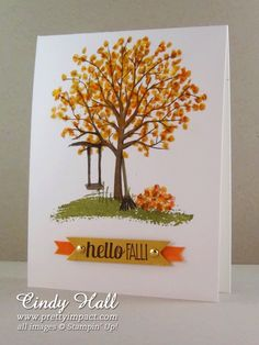 handmade card ... Fall theme ... Sheltering Tree with a pile of leaves ... crisp look with lots of white ...  Stampin' Up!