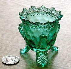 Degenhart Toothpick Holders | Degenhart glass Forget-me-not toothpick holder end-of-blizzard green