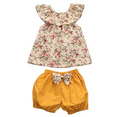 56a1a0582419f Summer Newborn Baby Girl Clothes Floral Tank Top +bow-knot Shorts Outfits  Bebek Giyim Toddler Kids Clothing Set - Kid Shop Global - Kids   Baby Shop  Online ...