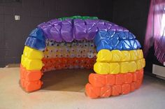 Our sensory room igloo made out of milk jugs!