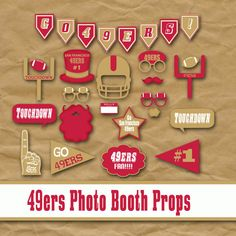 San Francisco 49ers Photo Booth Props and Party Decorations, Birthday Party Idea