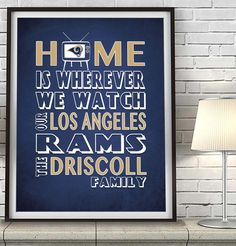"Los Angeles Rams football Inspired Personalized & Customized ART PRINT- ""Home Is"" Parody Retro Unframed Print"