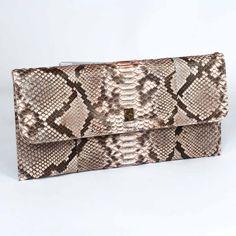Genuine python pochette in roccia tonality by Gleni