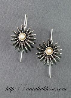 Anemone silver earrings. Organic earrings di nataliasjewellery, $65.00