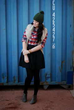 Styles For Less outfit including a Pom Pom beanie, plaid, and fur all mixed together for an adorable winter outfit look. Outfit created by The Red Closet Diary Blog. #winteroutfit #fashionblogger