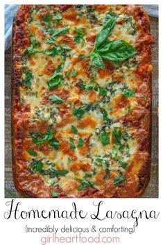 The best lasagna recipe! This homemade lasagna recipe has a scratch made meat sauce, a cottage cheese layer with spinach and copious amount of cheese! It's like a hug in every bite! Homemade Lasagna Recipes, Best Lasagna Recipe, Homemade Meat Sauce, Pasta Recipes, Appetizer Recipes, Dinner Recipes, Risotto Recipes, Appetizer Ideas, Noodle Recipes