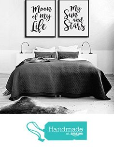 Moon Of My Life, My Sun and Stars, Bedroom Art, Bedroom Print, Wall Art, Wall Decor, Wall Prints, Set Of 2 Bedroom Prints, Black and White from Lovely Decor