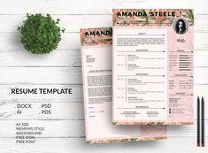 Flamingo CV / Resume Template / N by Showy68 Template on @creativemarket