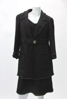 Chanel Authentic 07A Metallic Tweed Dress Suit Size 42 Wool Blend Made in France | eBay