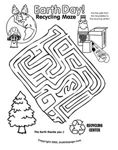 Earth Day Recycling Maze Activity Sheet - Free Coloring Pages for Kids - Printable Colouring Sheets