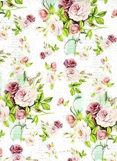 Flowers Background Digital Decoupage scrapbooking por IdrawUprint