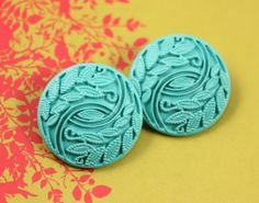 Broadleaf Grass Metal Buttons , Cyan Color , Shank , 0.91 inch , 10 pcs on Etsy, $6.00