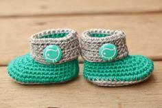 Crochet Baby Booties  Teal Green and Grey Baby by Raspberriez