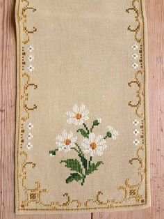 Beautiful 21 x 7 / floral / cross stitch /