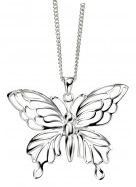 Large Plain Sterling Silver Butterfly Pendant