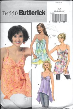 Butterick B4550 Misses Summer Top Blouse Spaghetti Straps Sewing Pattern Size 6, 8, 10 and 12