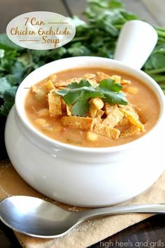 To make this soup, you literally put seven cans of stuff in a pot and heat it up. So easy and delicious! #recipe #dinner http://www.highheelsandgrills.com/2013/12/7-can-chicken-enchilada-soup.html