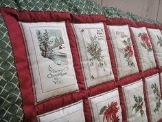 "Homemade Quilts, Christmas Quilt, Christmas Décor, Homemade Bedding, Christmas Gift Ideas - ""Christmas Cards"""