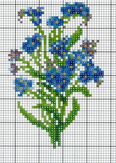 miniature needlework chart forget me nots