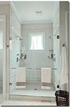 Love this idea of a walk through shower! Each person has their own ...