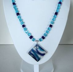 Blue Dichroic Glass Geometric Pendant Necklace by JewelrybyIshi, $28.00