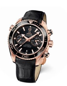 OMEGA Seamaster Planet Ocean Chronograph Ceragold     Omega utilized unique materials to achieve a the high contrast in this timepiece. The Seamaster Planet Ocean Chronograph Ceragold features a ceramic bezel with a diving scale made of gold and is smooth to the touch. 45.5mm in diameter, the red gold case houses an Omega Co-Acial calibre 9301 movement which powers the lacquered black dial.