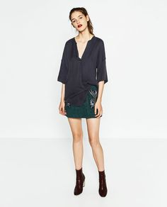 Image 1 of Loose fit blouse. from Zara