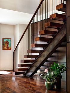 Terrific Residential Metal Stairs Ideas in Staircase Contemporary design ideas with custom floating stairs floating treads mesquite stairs Wood Railings For Stairs, Modern Stair Railing, Stair Railing Design, Stair Handrail, Modern Staircase, Steel Railing, Staircase Contemporary, Rebar Railing, Steel Stairs Design