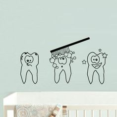 Wall Decal Vinyl Sticker Decor Art Bedroom Design Mural Nursery Kids Baby Teeth Tooth Brush Wash (z745)