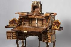 """""""Writing Desk"""" by Abraham Roentgen, made in Germany. It is on loan from the Rijksmuseum, Amsterdam for the Metropolitan Museum of Art show """"Extravagant Inventions: The Princely Furniture of the Roentgens,"""" which runs through Jan. Rustic Furniture, Luxury Furniture, Antique Furniture, Living Room Furniture, Furniture Design, Outdoor Furniture, Furniture Stores, Western Furniture, European Furniture"""