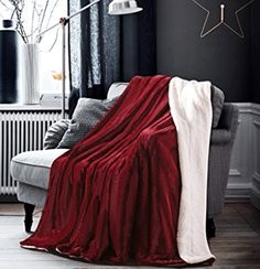HoroM Soft Cozy Fluffy and Warm Sherpa Blanket Wine Red Throw Blankets for Bed or Couch Couch Blanket, Red Blanket, Fuzzy Blanket, Couch Throws, Couch Pillows, Sofa, Fluffy Blankets, Fluffy Pillows, Throw Blankets
