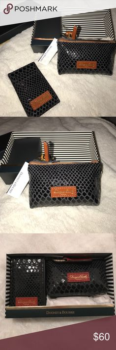 Dooney & Bourke cardholder and mini purse set NWT 2 piece set... 1 textured cardholder with 6 pockets... 1 zip change purse with keychain... black leather Dooney & Bourke Bags Clutches & Wristlets