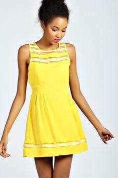 Boohoo-Womens-Ladies-Lily-Ribbon-Detail-Crew-Neck-Sleeveless-Skater-Dress