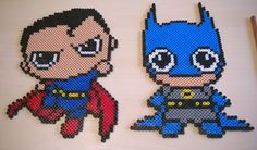 Chibi Batman v Superman cute perler beads by Szilvi