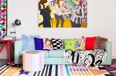 Textile designer Aelfie Oudghiri incorporates her line of funky, colorful goods into her Brooklyn apartment.