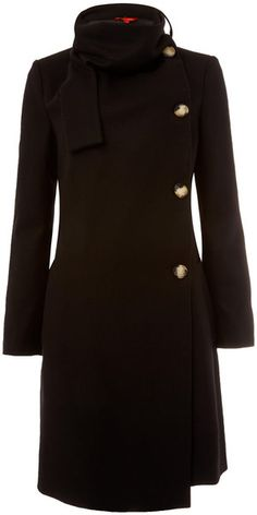 Vivienne Westwood Red Label Black Melton Scarf Neck Coat -