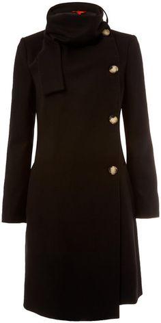 Vivienne Westwood Red Label Black Melton Scarf Neck Coat - Lyst