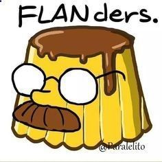 A Flanders pun what more coule we ask for! Homer Simpson, Spanish Jokes, Simpsons Art, Joko, Humor Grafico, Funny Memes, Hilarious, Futurama, Animation