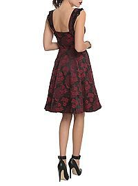 HOTTOPIC.COM - Red And Black Brocade Lace-Up Dress