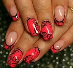 New nails red acrylic nailart ideas Sexy Nails, Cute Nails, Pretty Nails, Beautiful Nail Designs, Cool Nail Designs, Funky Nails, Trendy Nail Art, Diamond Nails, Fabulous Nails