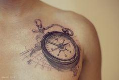 나침반 타투 by 타투이스트 리버 / Compass tattoo by Tattooist River / 분당타투 / 남자 가슴 타투